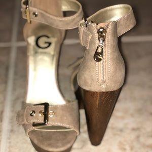 Guess tan suede heels